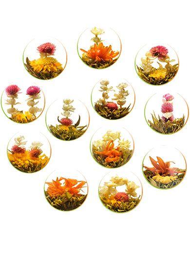 Douzaine : 12 fleurs de thé vert - Boite