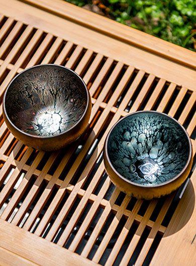 Mini bols GongFu Jianyang Jianzhan - Tasse couple rose doré et bleu profond