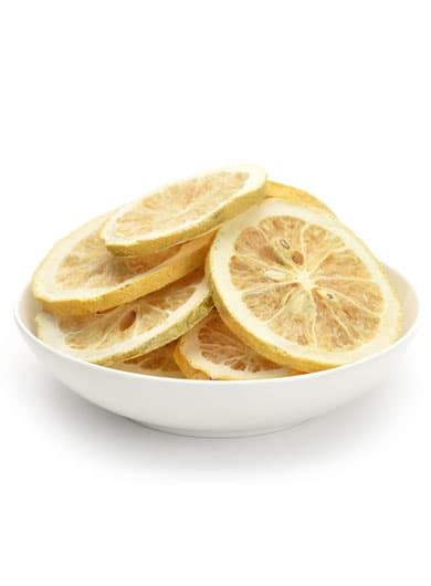 Citron jaune déshydraté en tranche