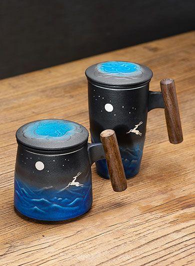 Mug à thé en céramique noire renneen