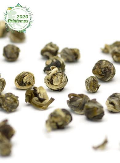 Pêche-Jasmin, perles de thé vert parfumé
