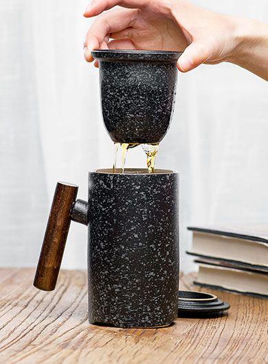 Mug à thé en céramique noire thérétro