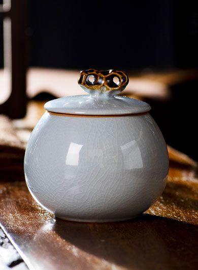 Boîte à thé en porcelaine Ru Yao