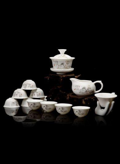Service à thé en porcelaine : Gaiwan ShenNong, complet, 14 pièces
