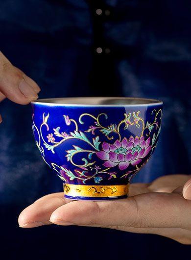 Tasse à thé en Porcelaine Lotus Bleu Argent