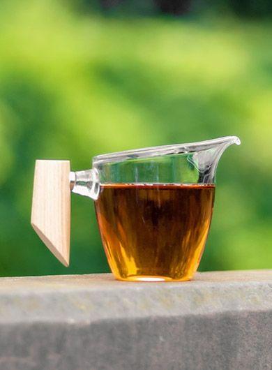 Verseuse en verre Gong Fu Cha avec poignée en bois