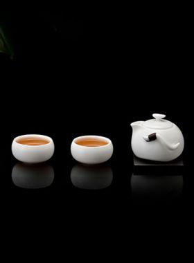 Service à thé Diao Chan en porcelaine Ding : une mini théière et deux tasses