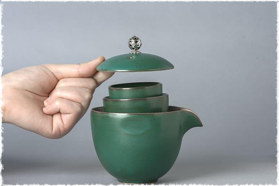 Service à thé de voyage Kuai Ke Bei en poterie grossière