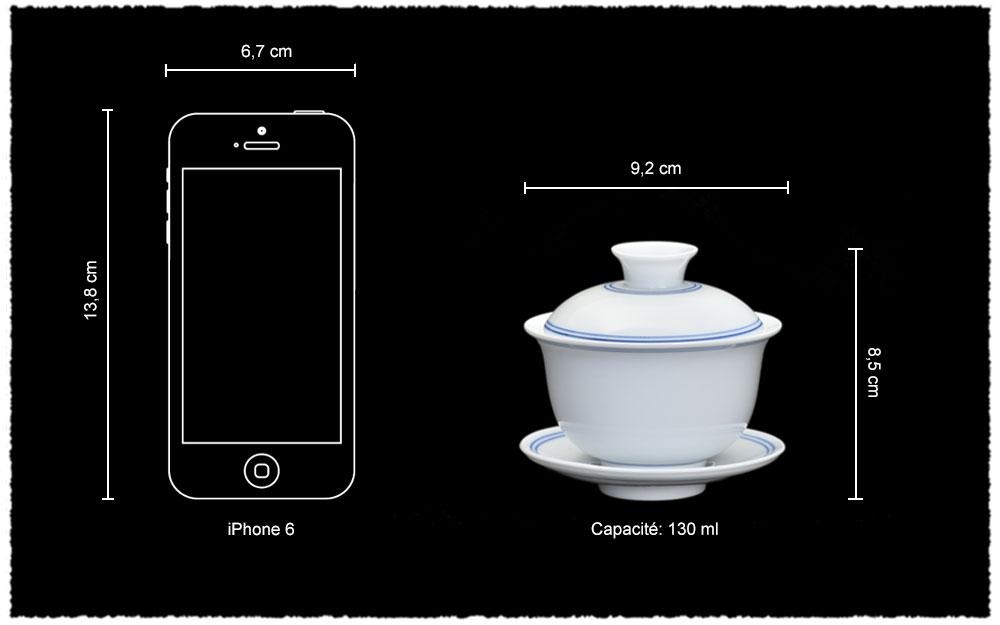 Dimension Gaiwan en porcelaine Blanc de Chine 130ml
