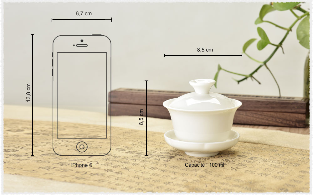 dimension Gaiwan en porcelaine Blanc de Chine