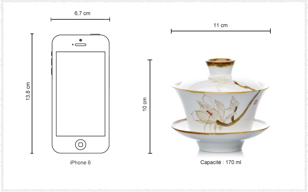 Dimension Gaiwan Porcelaine Gao Bai Ci