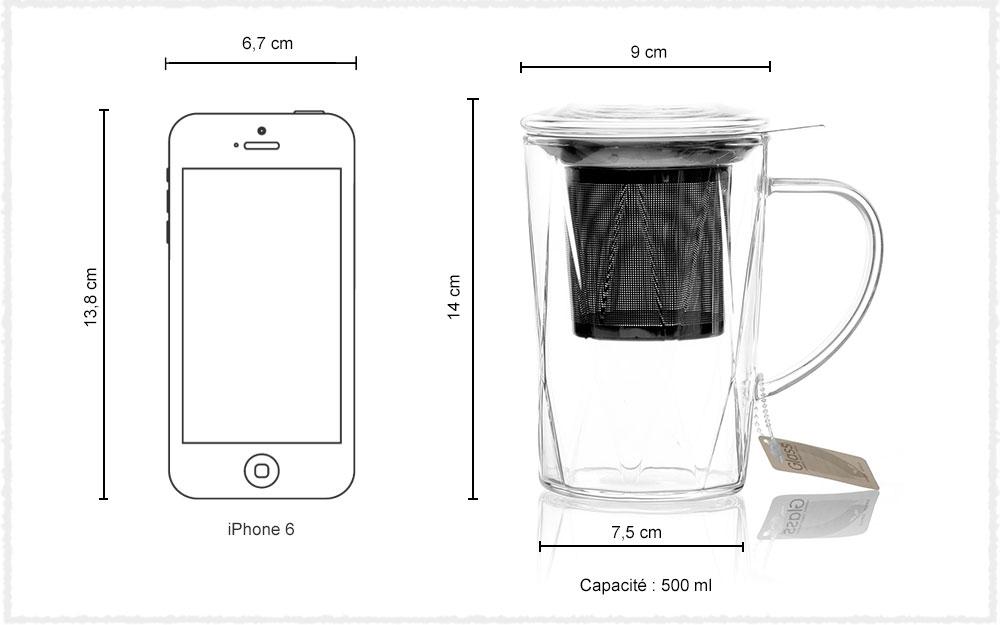Dimension Théière en verre Cristalline
