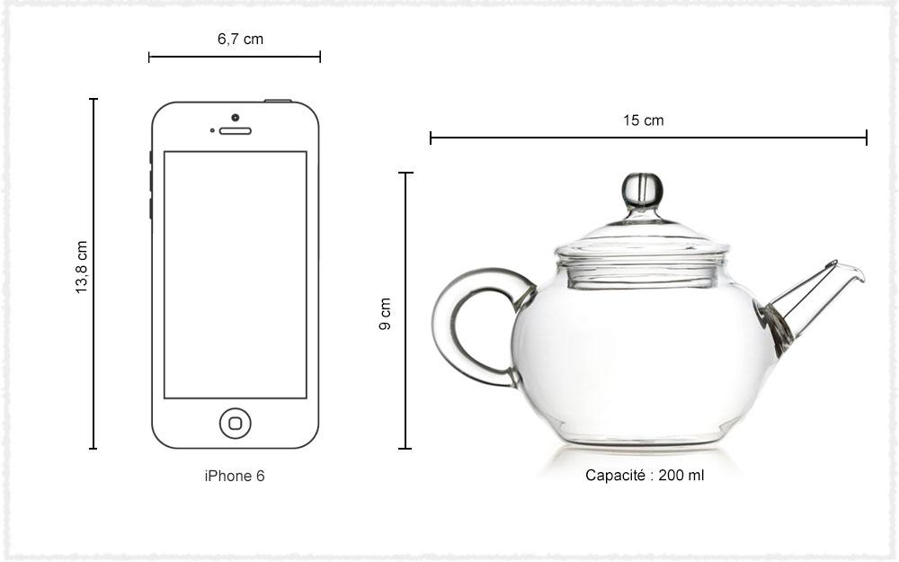 Dimension Mini théière GongFu en verre