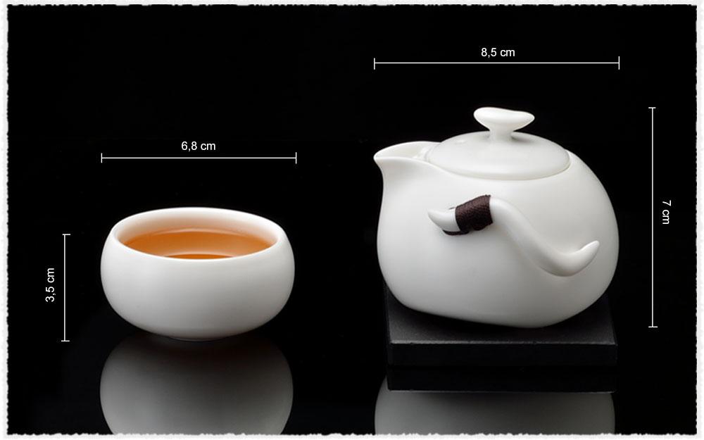 Dimension Service à thé Diao Chan en porcelaine Ding
