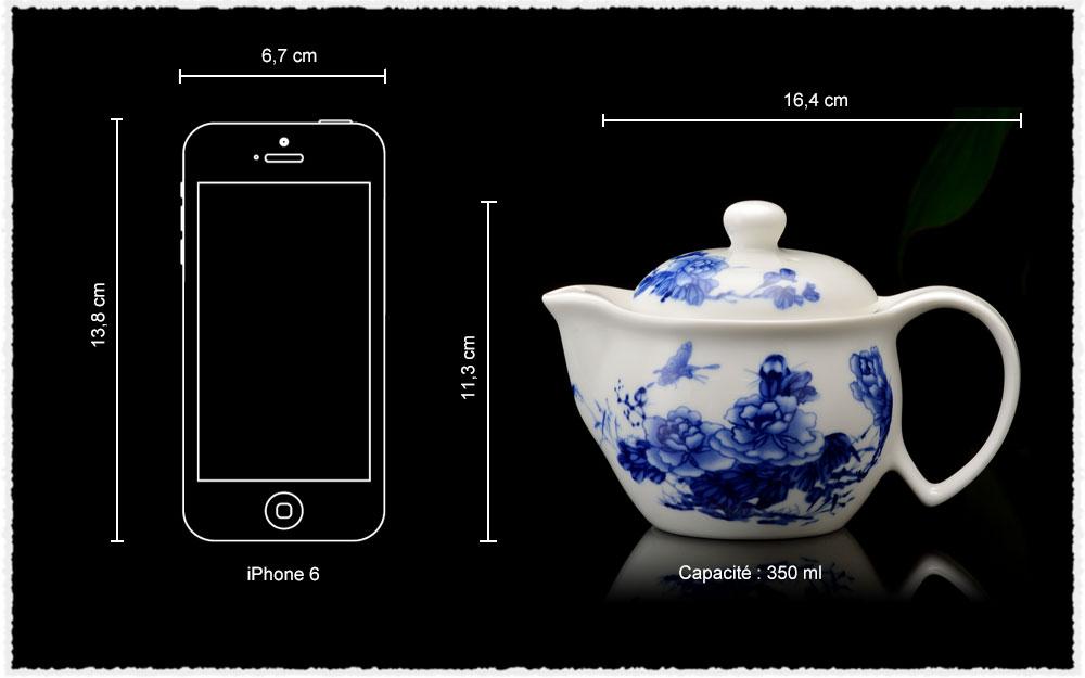 Dimension Théière Lan Mu Dan en porcelaine jade