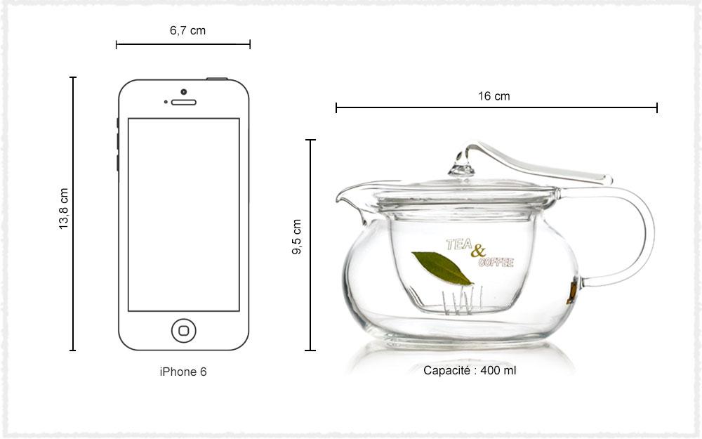 Dimension Théière en verre Artdéco