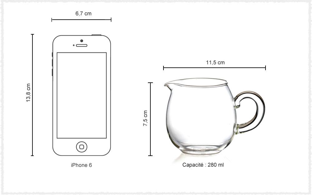 Dimension Verseuse en verre