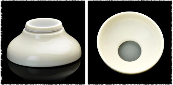 Filtre et support en porcelaine chinoise blanche