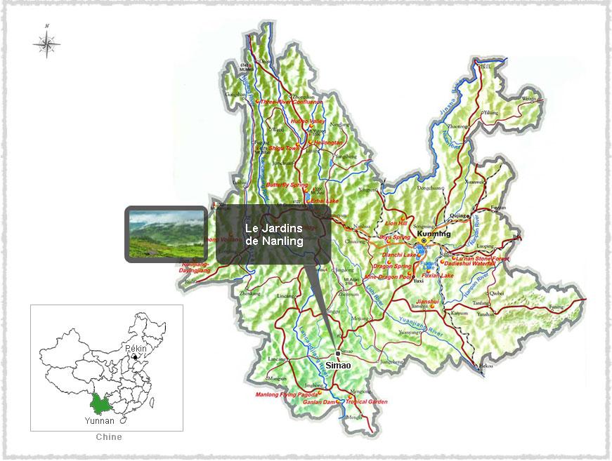 Carte du Yunnan et emplacement des jardins de Nanling
